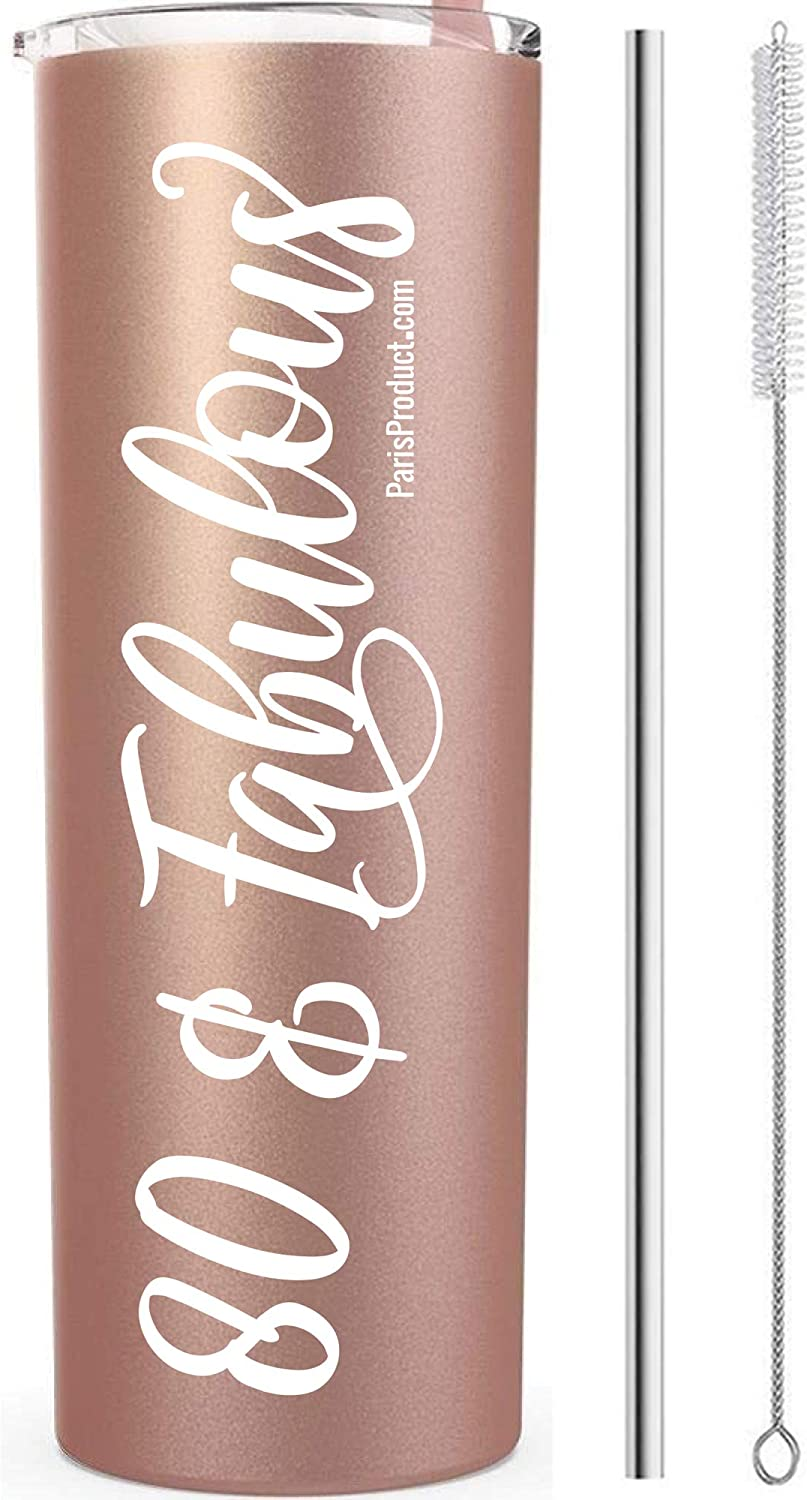 80 & Fabulous 80th Birthday Tumbler 20 oz White Stainless Steel  80th Birthday Party Supplies for Girls  80th Birthday Gift idea  Party Supplies  80th Birthday Decorations