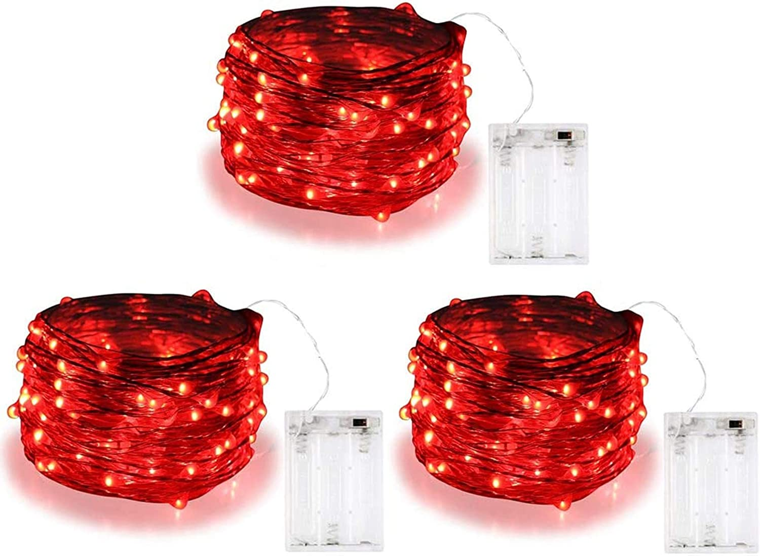 Amazon Com 3 Pack Bolweo 10ft 3m 30 Leds Red Battery Operated Valentine S Day String Light Battery Powered Christmas Lights Indoor Outdoor Home Holiday Wedding Decorations Red Home Improvement