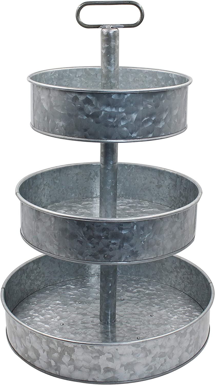 3 Tier Galvanized Metal Stand Serving Tray with Handle - Farmhouse Style - Jumbo Serving Tray & Display Perfect for Rustic, Vintage Decoration in Kitchen & Dining Room