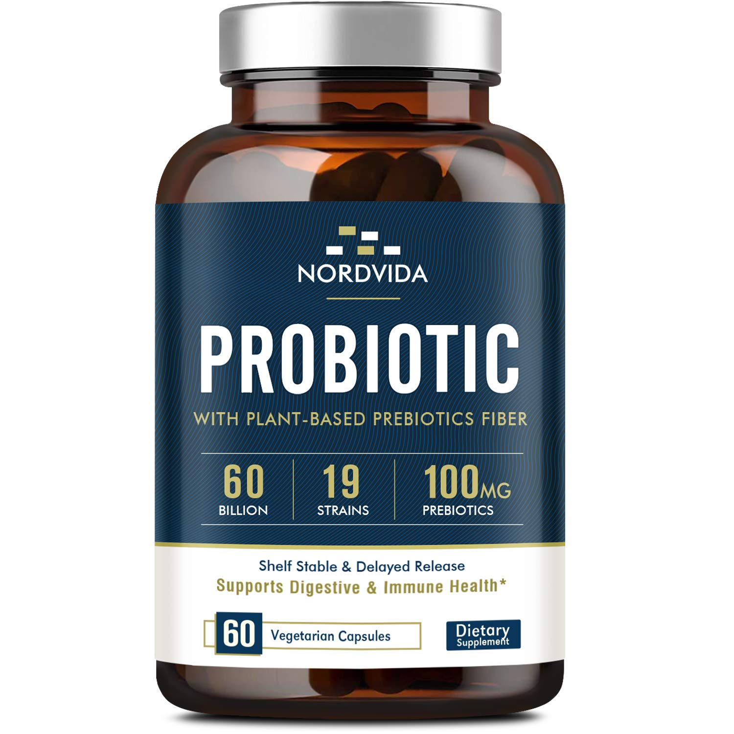 Probiotics 60 Billion CFU 19 Strains with Organic Prebiotic for Men & Women, Shelf Stable Delayed Release, No Need for Refrigeration, Digestive & Immune Health, Vegan, Non-GMO, No Soy Dairy, 60 Caps