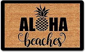 """dandan Funny Welcome Doormat for Entrance Way Indoor Aloha Beaches Funny Pineapple Doormat Hello Doormat Personalized Doormat Funny Home Decor Doormat Anti-Slip Welcome Mats30(L) x 18""""(W)"""