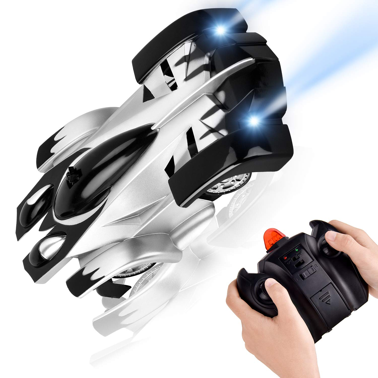 Rechargeable High Speed Mini Toy Car for Boys Kids Adults Gifts RC Car Flyglobal Remote Control Car 360/°Rotating Wall Climbing Gravity Defying Mini Toy Car with Head and Rear LED Lights