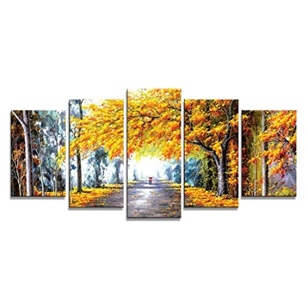 Wieco art autumn love modern giclee canvas prints artwork 5 panels abstract landscape oil paintings