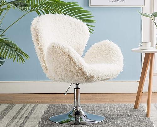 DM Furniture Shell Fur Desk Chair Shaggy Fur Accent Chair Soft Comfy Skin-Friendly Vanity Chair