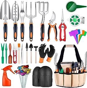 Garden Tools Set,52Pcs Gardening Tools with Succulent Tools Set,Aluminum Gardening Hand Tools Kit with Knee Pads, Garden Tool Water Bag, Garden Shovel, Gloves,Gardening Supplies Gifts for Women