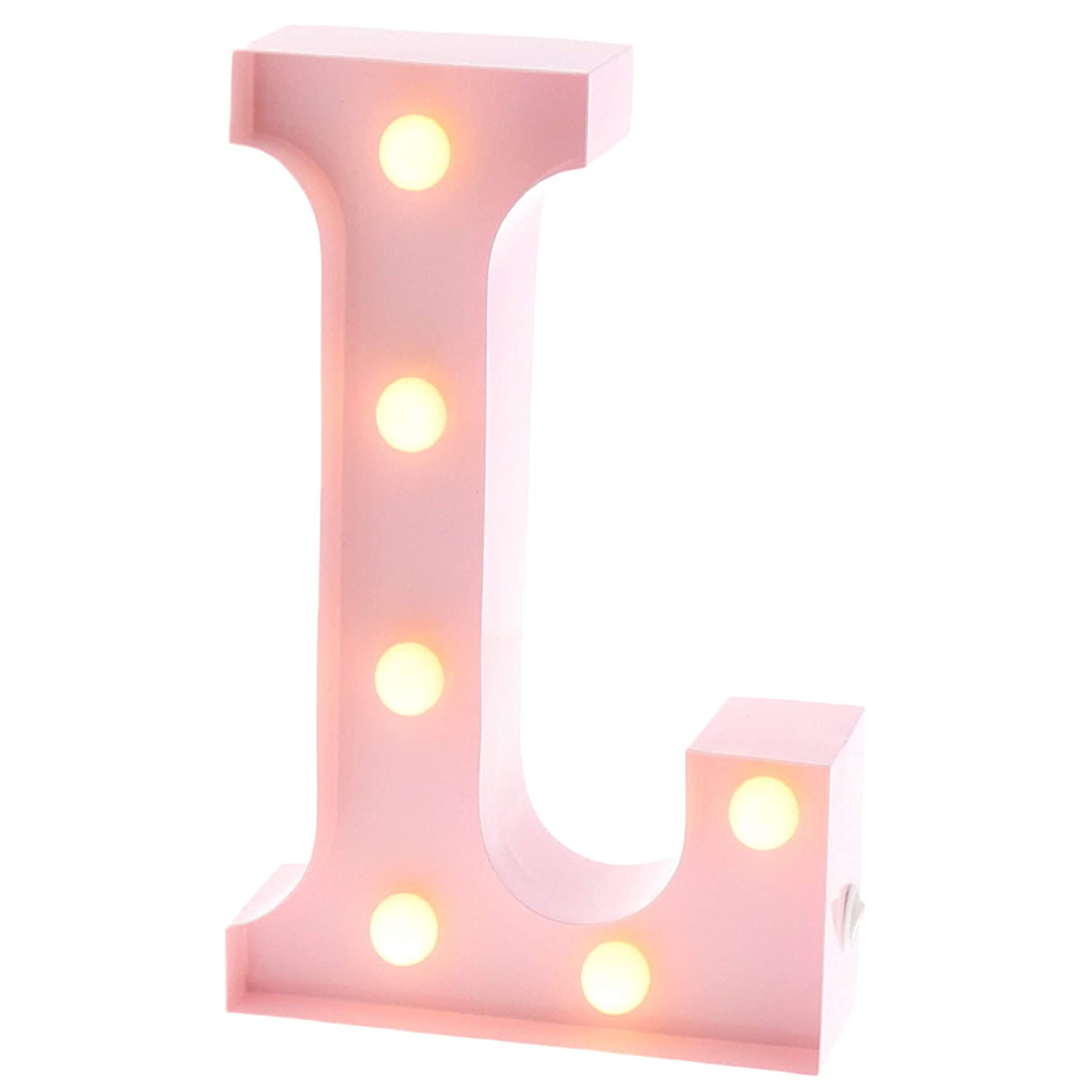 "Barnyard Designs Metal Marquee Letter L Light Up Wall Initial Nursery Letter, Home and Event Decoration 9"" (Baby Pink)"
