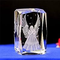 Cristallo cubo di vetro angelo 3D laser scultura statua Feng Shui souvenir artigianato