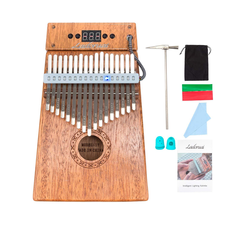 Ladoruai 17 key Kalimba, Smart Illuminated Thumb Piano, Tuning Hammer and Study Instruction(120 songs option) by ladoruai