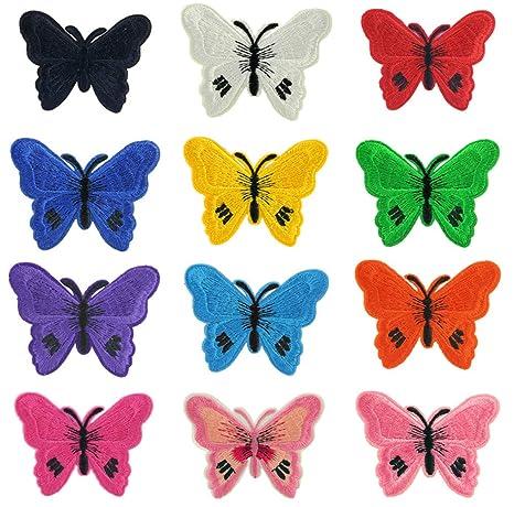 (12 unidades) surtidos mariposa hierro en parches bordados apliques para zapatos ropa accesorios decoración. Pasa ...
