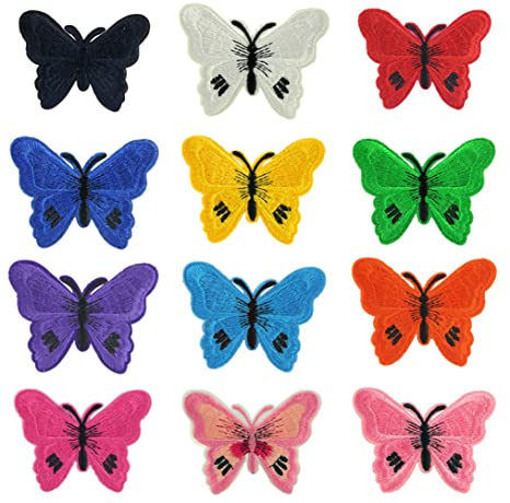(12 unidades) surtidos mariposa hierro en parches bordados apliques para zapatos ropa accesorios decoración