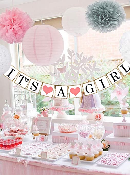 Beau Miel Baby Shower Decorations For Girl Decoracion Para Baby Shower Nina Babyshower Package Decoration Party Kit With Banner Decor Pink White