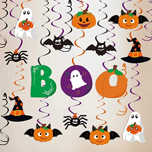 Amazon Com Ivenf Halloween Decorations Hanging Swirls 30ct Cute Pumpkin Ghost Spider Bat Boo Party Decor Ofiice Home Indoor Halloween Party Supplies Gifts Home Kitchen