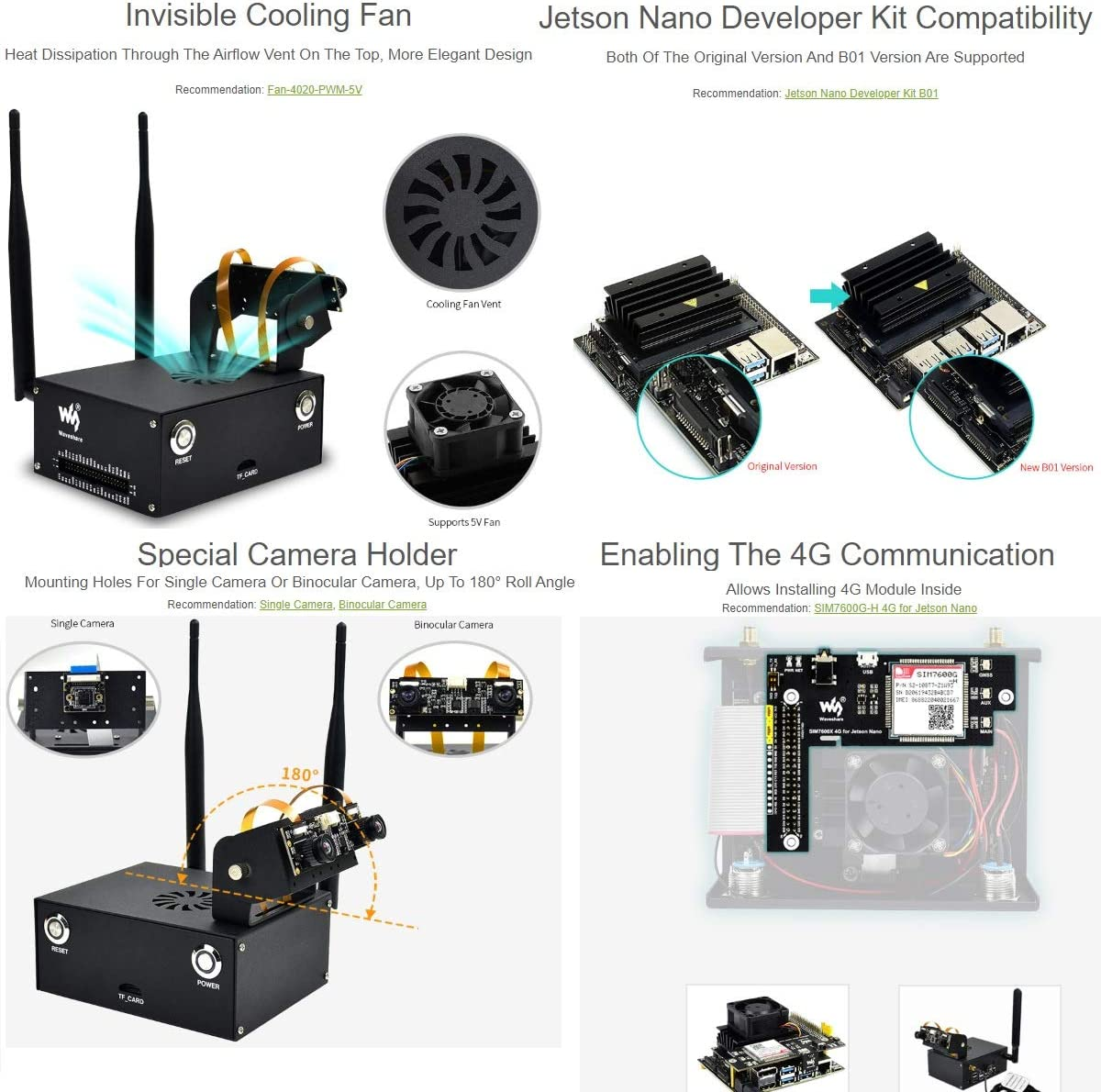Metal Case Enclosure for Jetson Nano Developer Kit and B01 Version with Camera Holder,Reset,Power Buttons Compatible with Waveshare IMX219 Series Camera,Wireless-AC8265,Cooling Fan C