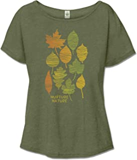 product image for Women's Organic Cotton Nurture Nature Recycled Off The Shoulder Top - Olive Green Ladies Short Sleeve Graphic Slouchy Tee