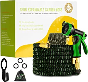 50 ft Expandable Garden Hose,Leakproof Lightweight Garden Water Hose with Spray Nozzle,Extra Strength 3750D Durable Gardening Flexible Pipe