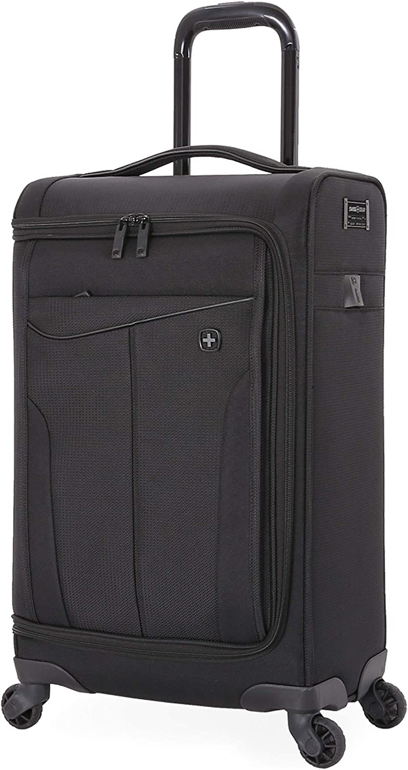 SWISSGEAR Getaway Expandable Carry-On USB Spinner with Garment Bag | Built-in Powerbank-Ready USB Port | Charge-Capable Smart Luggage - Men's and Women's - Black