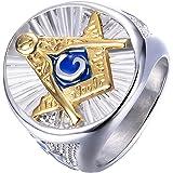 IFUAQZ Anillos masónicos de acero inoxidable para hombre azul G Lodge Master Mason Signet Biker Band