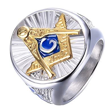 b9e15592e9094 IFUAQZ Men's Stainless Steel Masonic Freemason Rings Blue G Lodge Master  Mason Signet Biker Band