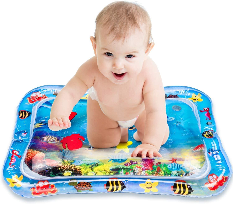 Alfombrilla de juego para bebés, Alfombrilla de agua inflable VIBIRIT Actividad de juego Alfombrilla táctil central para bebés pequeños, Juguete para bebés 3 6 9 meses (66 x 50 cm) (60 * 55cm)