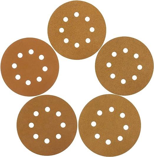 125mm Sanding Discs 5 Sandpaper 8 Hole Hook and Loop Wood /& Automotive Pads 25, Grit 320