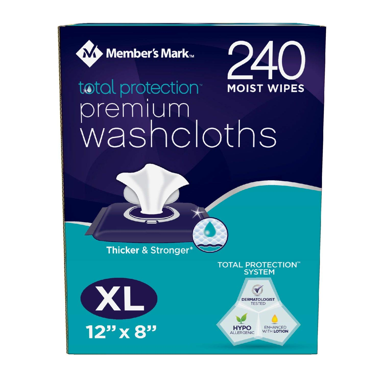 Members Mark Adult Premium VwxqM Disposable Washcloth Value Pack, 240 Count (3 Pack)
