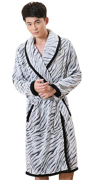 Amazon.com: Espesor Largo Cálido Franela albornoz Zebra ...