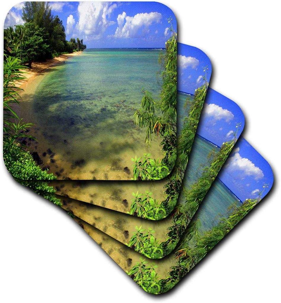 3dRose Nature, Ocean Scene, Green, Blue, Ceramic Tile Coasters, Set of 4 (CST_66301_3)
