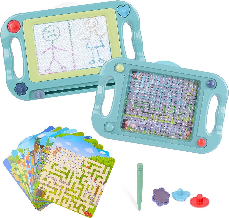 Pizarra Magnética para Niños Tablero de Dibujo Magnético Infantil Tableta Magnética Doble Cara con Equilibrar Pelota, Juguete Educativo para Niños Navidad Regalo Cumpleaños Día de Los Reyes para Niños