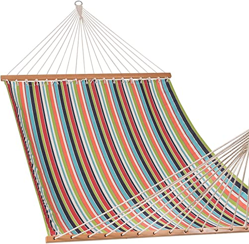 Lazy Daze Hammocks Sunbrella Fabric Hammocks with Spread Bar and Handcrafted Polyester Rope for Two Person, All Weather and Fade Resistant, 450 lbs Capacity, Carousel Condetti