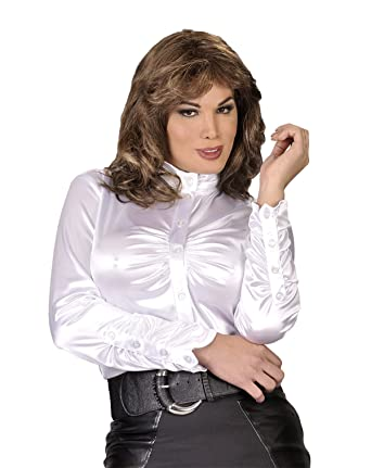 Suddenly Fem Elegant White Satin Blouse - Medium, White at Amazon ...