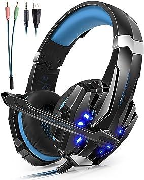 Auriculares Cascos Gaming Headset Gamer con Micrófono Juegos Estéreo LED Para PS4 Portátiles Móviles Tablet PC Nuevo Xbox One Mac Nintendo: Amazon.es: Electrónica