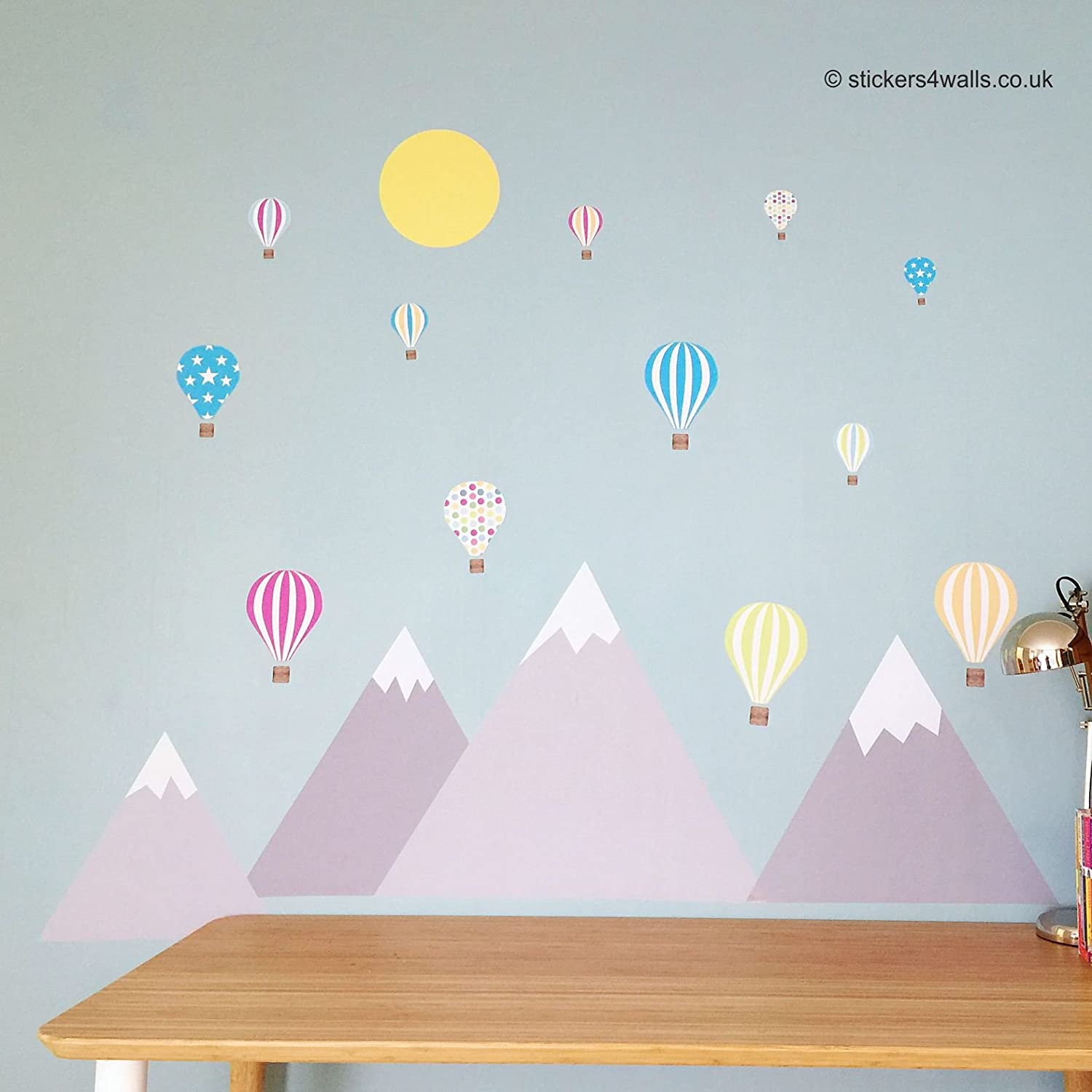 Large Mountain Wall Stickers, Air Balloon Wall Stickers, Mountain ...