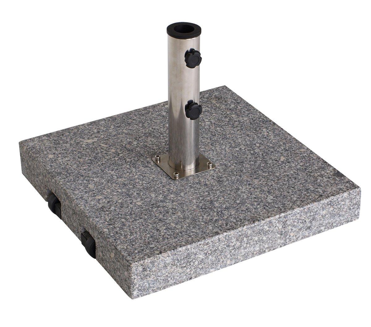 Schirmständer mit Rollen aus massivem Granit (grau), eckig 60kg