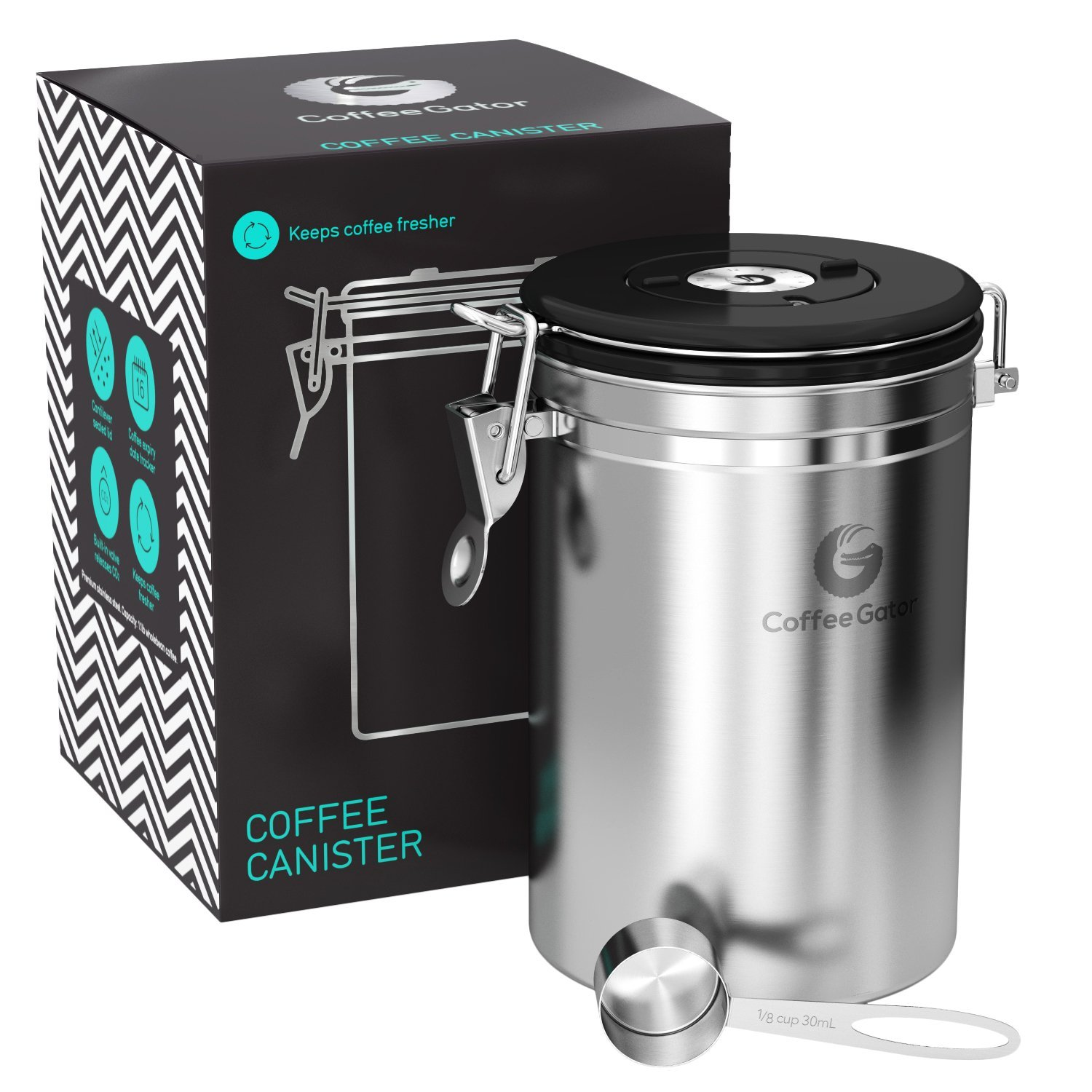 Coffee Gator Stainless Steel Container - Canister with co2 Valve and Scoop - Large, Silver