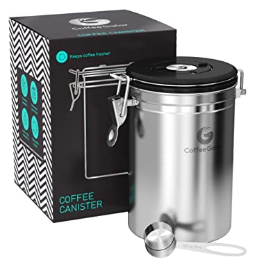 Coffee Gator Stainless Steel Container - Canister with co2 Valve and Scoop (Stainless Steel, Large)