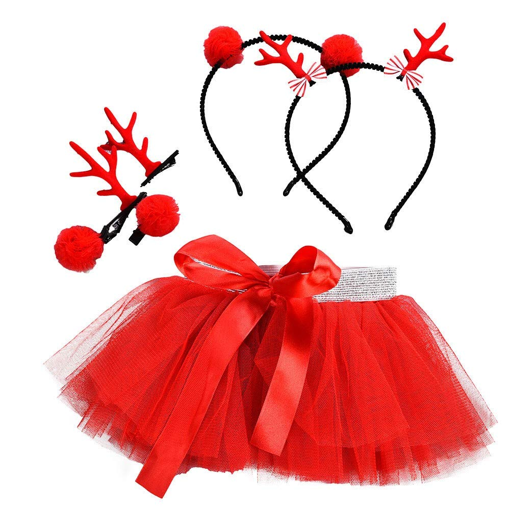 Kobay Christmas Baby Girls Skirts, Kids Tutu Ballet Dress Fancy Party Skirt + Hair Hoop Set for 1-5 Years