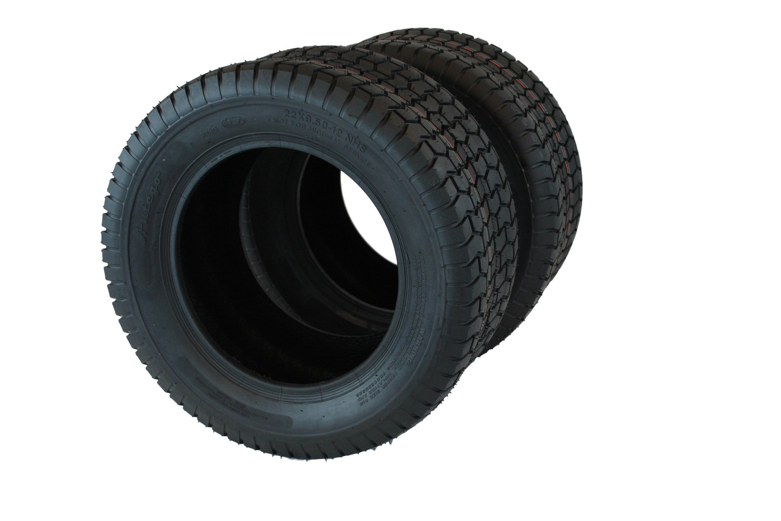 Set of Two 22x9.50-12 4 Ply Turf Tires for Lawn & Garden Mower (2) 22x9.5-12