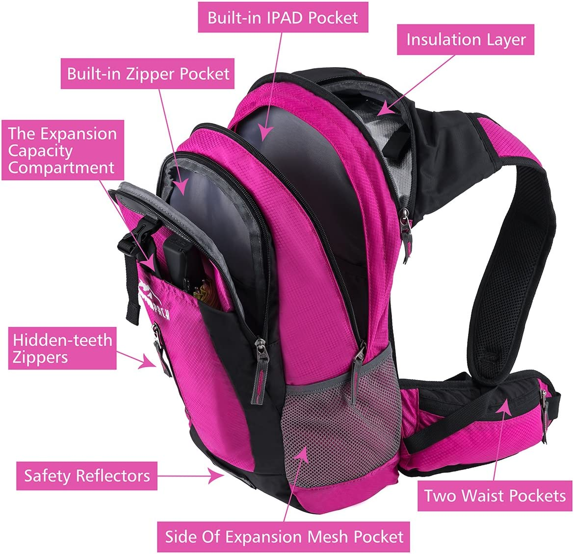 School Commuter Fits Men RUPUMPACK Insulated Hydration Backpack Pack with 2.5L BPA Free Bladder Lightweight Daypack Water Backpack for Hiking Running Cycling Kids Women 18L