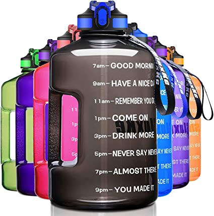 Large 1 Gallon//128oz Motivational Leak-Proof Water Bottle with Time Marker