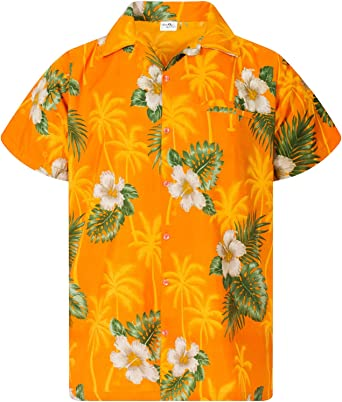 King Kameha Hawaiian Shirt for Men Funky Casual Button Down Very Loud Shortsleeve Unisex Small Flower