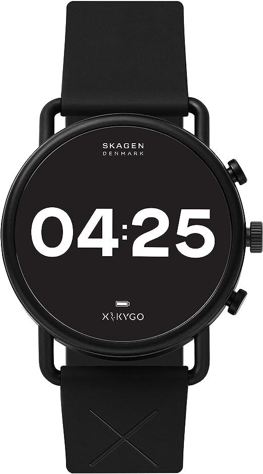 Skagen Montre connectée Falster 3 Gen 5 en acier inoxydable avec écran tactile, fréquence cardiaque, GPS, NFC, notifications de smartphone, Nil, KYGO Silicone Noir: Amazon.ca: Montres