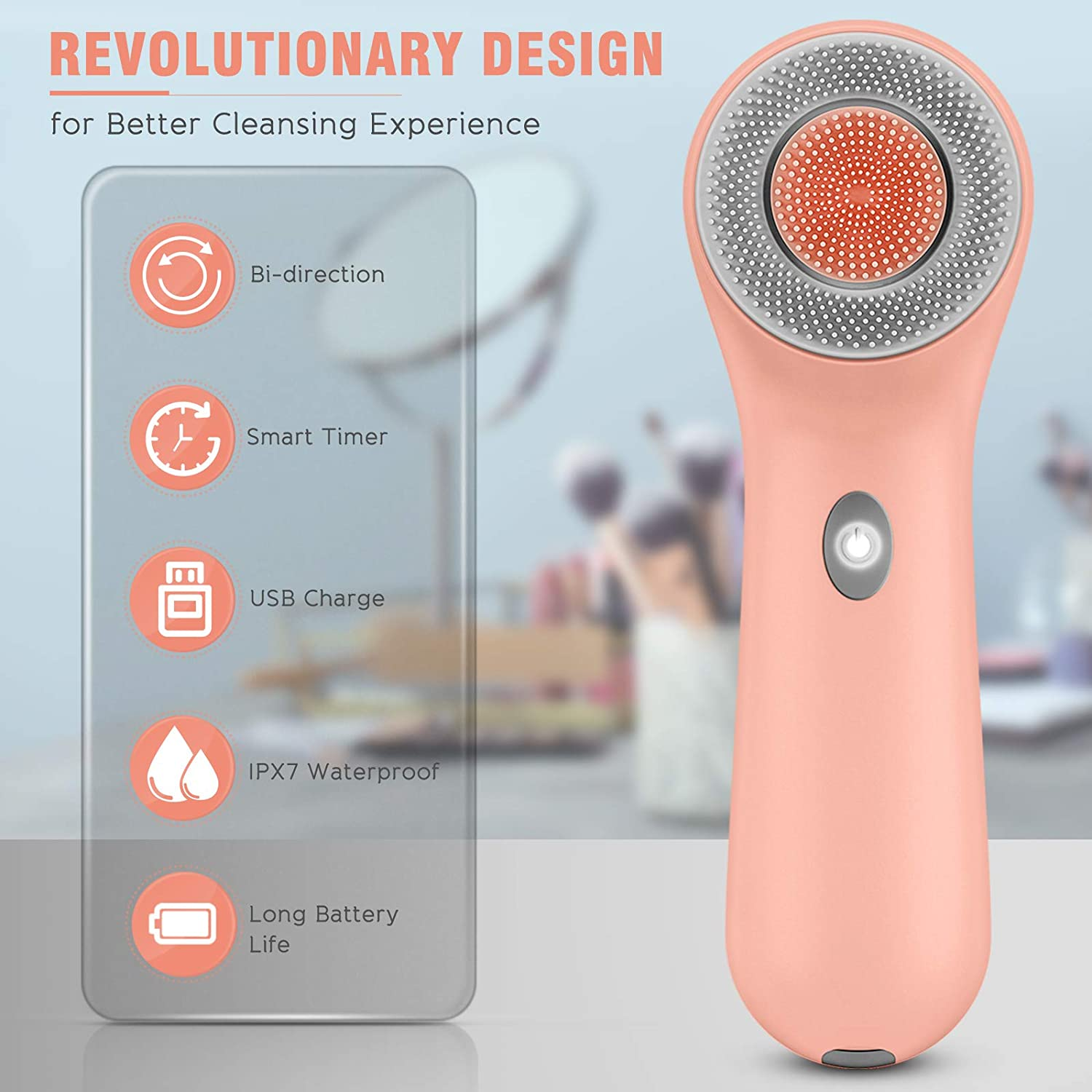 Face Wash Brush, Rechargeable Face Spin Wash Brush with 3 Heads for Massaging (Orange)