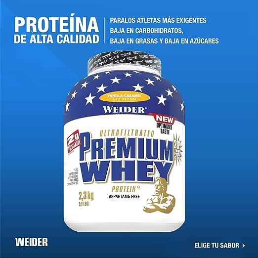 Weider Premium Whey, CFM, 2g de L-Glutamina por toma. Sabor Vainilla-Caramelo - 2300 gr