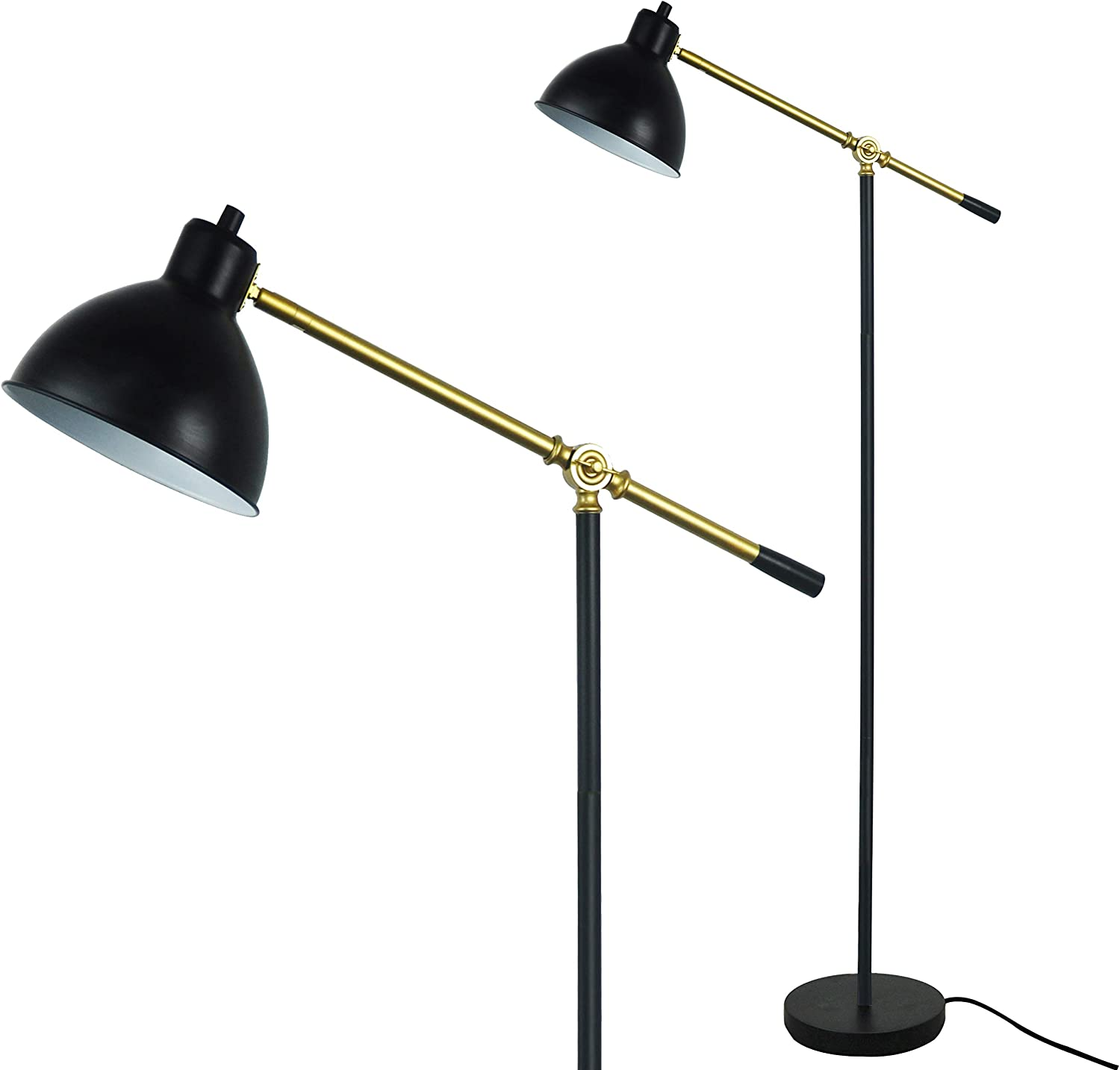 Floor Lamp for Reading by LightAccents – Ashford Adjustable Reading Lamp – Cantilever Standing Pharmacy Style Reading Light Black with Brass Accents