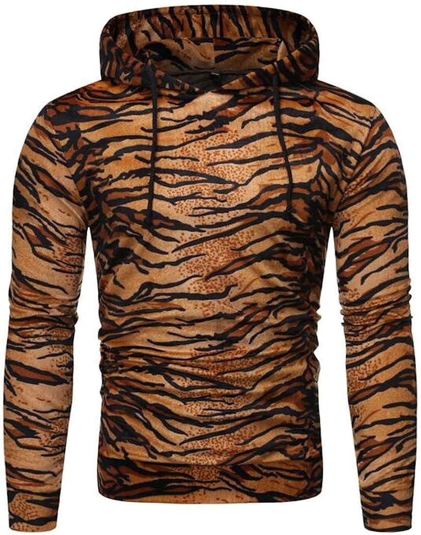 hower Mens Leopard Print Hoodies Sweatshirts Cozy Sport Pullover Outwear