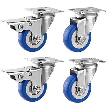 Homdox 2inch Ruedas Giratorias para Muebles Set de 4 Ruedas de Repuesto Ruedas para sillas de Oficina (2 sin Freno 2 con freno) Azul: Amazon.es: Bricolaje ...