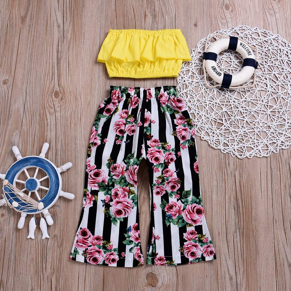 Verypoppa Baby Girls Outfit 2 Piece Strapless Crop Top Shirt Floral Flare Pants Set