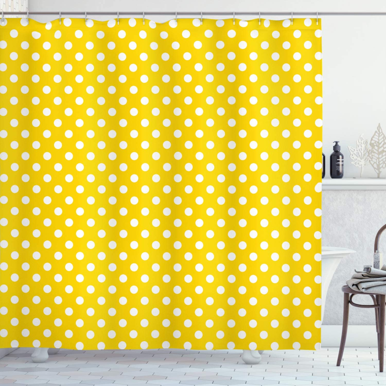 Amazon Com Ambesonne Yellow Shower Curtain Picnic Inspired 50s 60s 70s Themed Polka Dot Retro Spotted Pattern Print Cloth Fabric Bathroom Decor Set With Hooks 70 Long Yellow White Home Kitchen
