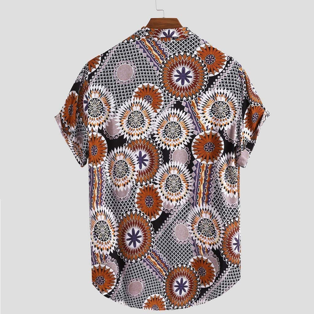 Beautyfine Mens Loose Casual Top Summer Short Sleeve Printed Shirts Chest Pocket Turn Down Collar T Shirt