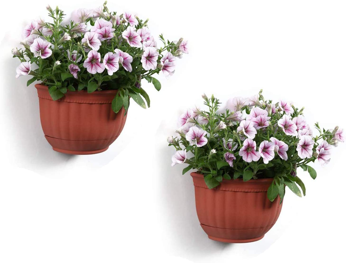 T4U Resin Wall Planter Brick Red Set of 2, Wall Mounted Garden Plant Flower Pot Basket Container Indoor Outdoor Use for Orchid Herb Aloe Succulent Cactus Home Office Porch Wall Decoration Gift
